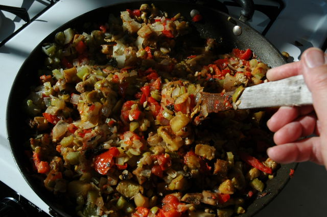 for caponata some it s an eggplant stew or into my bowl of caponata ...